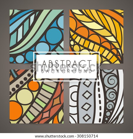 Set of four vector colorful intricate patterns. Doodle. Zentangle - stock vector