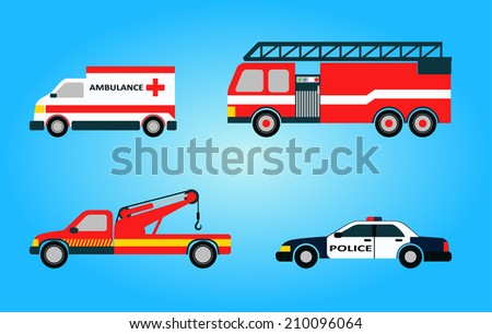 Set of four vector emergency vehicles including ambulance firetruck police tow truck isolated - stock vector