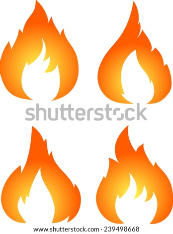 Set of four vector fires isolated on white  - stock vector
