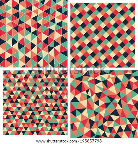Set of four vector geometric abstract seamless pattern. Abstract geometric colorful backgrounds. Texture with triangles, rhombs. Mosaic. 4 in 1. EPS 10.