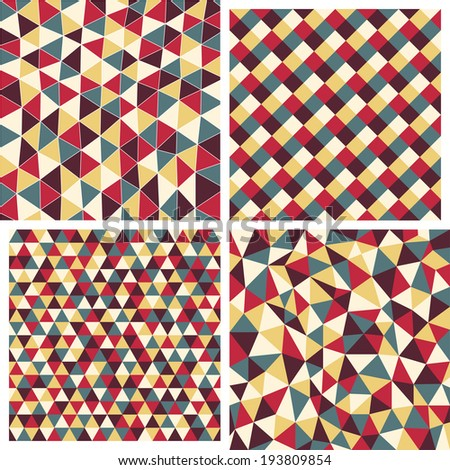 Set of four vector geometric abstract seamless pattern. Texture with triangles, rhombs. Mosaic. 4 in 1. EPS 10.