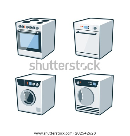 Set of four vector icons of an oven cooker, dishwasher, washing machine and dryer  - stock vector
