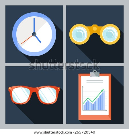 Set of four vector icons with the clock, binoculars, sunglasses and a clipboard with the schedule - stock vector