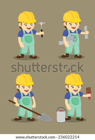 Set of four vector illustration of cute industrial worker wearing yellow helmet and overall with hand holding work tools in cartoon style isolated on plain brown background - stock vector