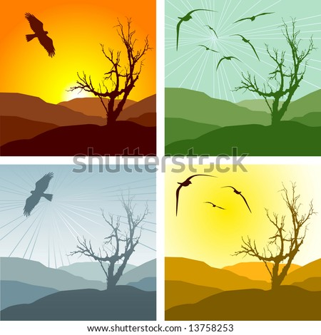 Set of four vector illustrations of a landscape and leafless tree representing different seasons