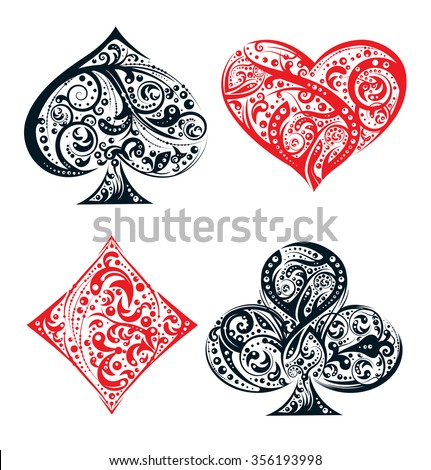 Set of four vector playing card suit symbols made by floral elements. Vintage stylized  illustration in black and red on white background. Works well as print, computer icon, logo - stock vector