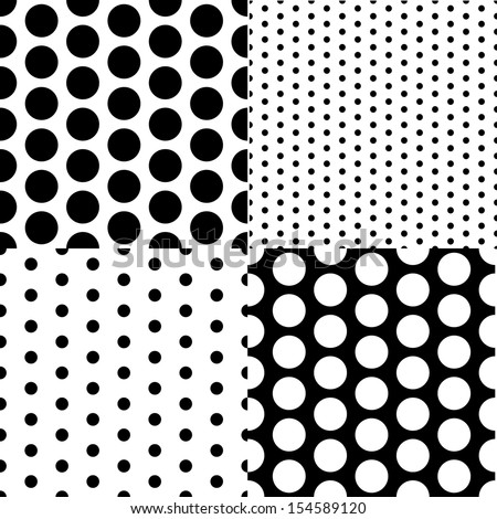 Set of four vector seamless patterns with small and large white and black peas - stock vector