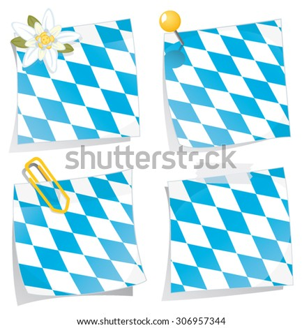 Set of four vector sticky notes with bavarian flag pattern - stock vector