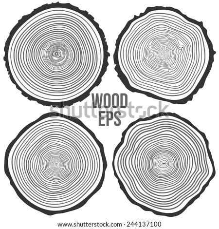 Set of four vector tree rings background and saw cut tree trunk. Conceptual graphics. - stock vector