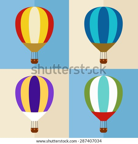 set of four vintage hot air balloons - stock vector