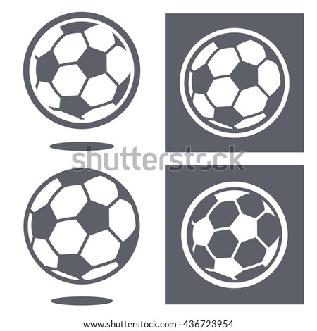Set of four white and gray soccer ball icons with little set down shadow floating effect and solid background - stock vector
