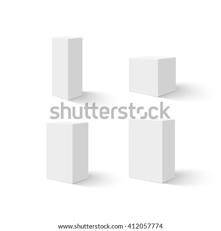 Set of four white blank boxes. Vector illustration. - stock vector