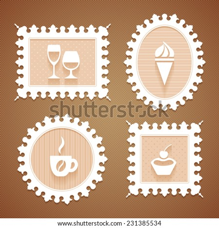 Set of four white vintage ornate frames of different shapes with curved edge and flat icons of desserts and drinks of cafeteria in beige pastel colors on a brown background - stock vector