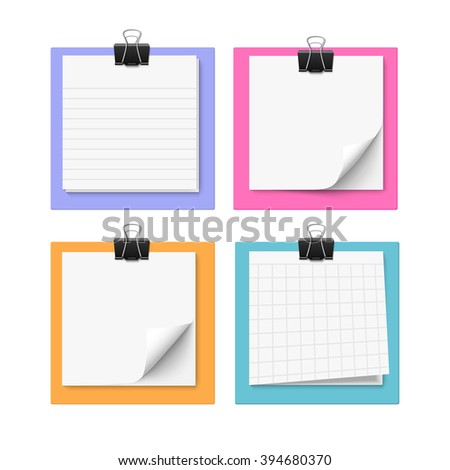 Set of four with sticky notes with paper clip. Realistic vector illustration of post it paper. Blank memo paper. - stock vector
