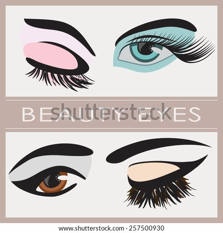Set of four woman eye with  long lashes vector  - stock vector