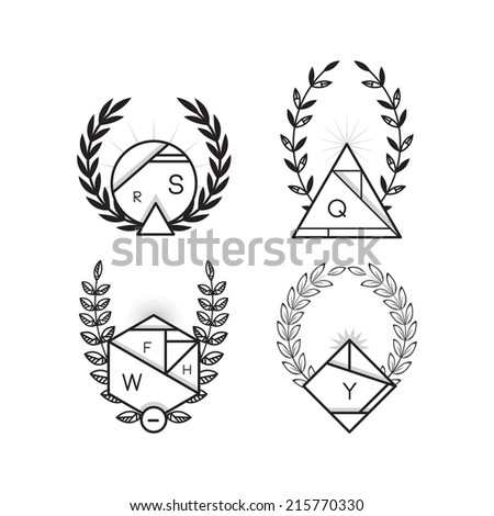 Set of four wreaths, black and white, outline, linear - stock vector
