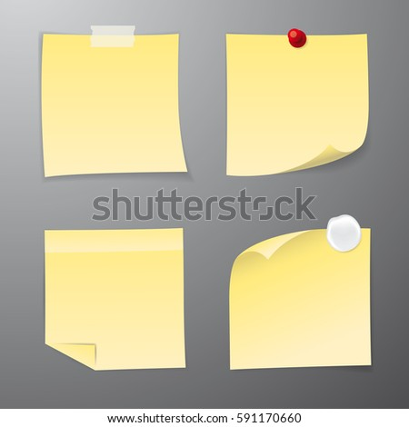 Set of four yellow paper stickers. Vector illustration.