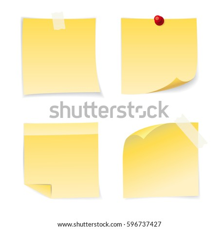Set of four yellow paper stickers. Vector illustration
