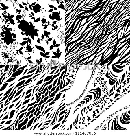Set of four  zentangle black and white seamless patterns. Monochromatic design.