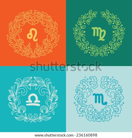 Set of four zodiac signs in outlined wreathes. Fire, Earth, Water, Air elements. Leo (The Lion), Virgo (The Maiden), Libra (The Scales), Scorpio (The Scorpion). Perfect for calendars, horoscopes  - stock vector