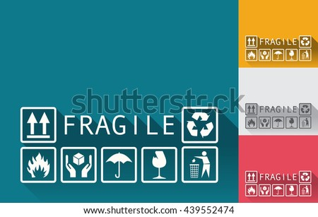 Set of fragile templates background in a flat design, various colors. Fragile symbols, elements. - stock vector - stock vector