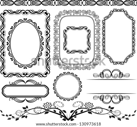 set of frames,  borders and ornaments - stock vector