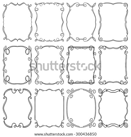 set of frames design elements. Editable vector illustrator file - stock vector