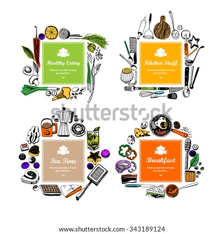 Set of frames (doodle style). fruits and vegetables, baked goods, breakfast, kitchen tools - stock vector