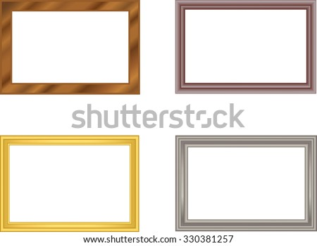 set of frames gold silver plastic wood