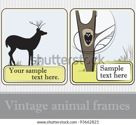 Set of frames with animals' silhouettes: deer and owl