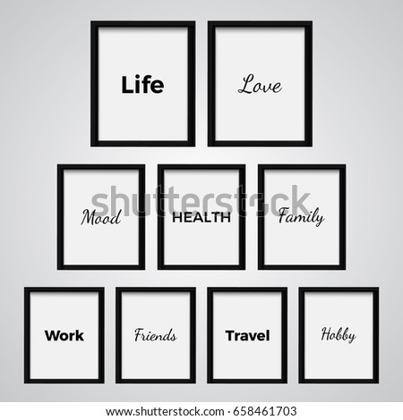 Set frames important words everyones life stock vector royalty free set of frames with important words in everyones life love mood health publicscrutiny Choice Image