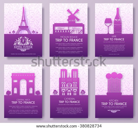 Set of France country ornament illustration concept. Art traditional, poster, book, abstract, ottoman motifs, element. Vector decorative ethnic greeting card or invitation  design background. - stock vector
