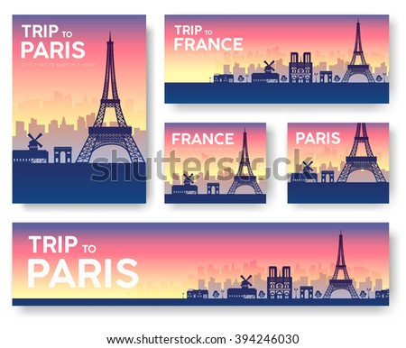 Set of France landscape country ornament travel tour concept. Culture traditional, flyer, magazine, book, poster, abstract, element. Vector decorative ethnic greeting card or invitation design  - stock vector