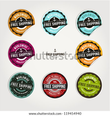 Set of free shipping badges - stock vector