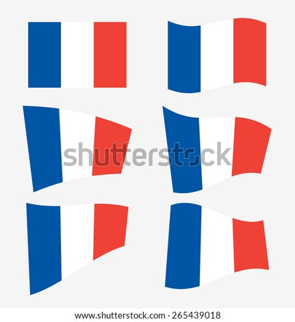 Set of french flags on white background. Vector illustration - stock vector