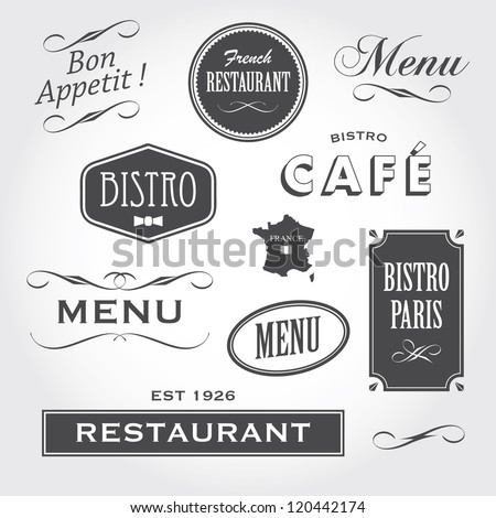 Set of french vintage ornaments, badges, banners, labels, signs bistro cafe restaurant, with french font type - stock vector