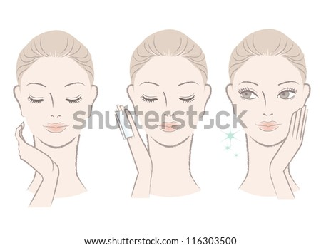 Set of fresh cute woman portrait. Applying facial lotion, touching her face. Moisturizing. Isolated on white. - stock vector