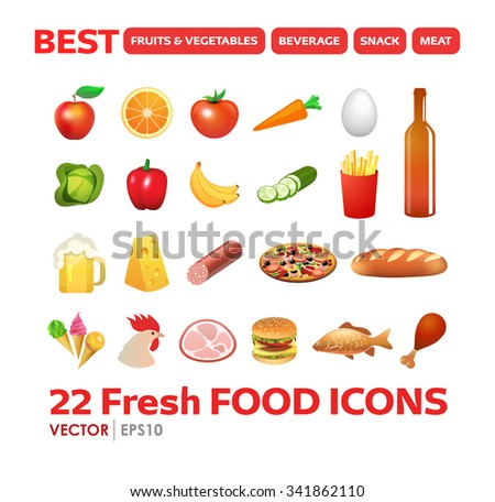 Set of Fresh Food Icons in colorful beautiful style. Vector Illustrations.