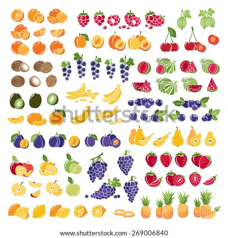 Set of fresh fruits with slice. Colorful collection of fruits icons. - stock vector