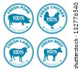 Set of fresh meat labels, vector illustration - stock vector