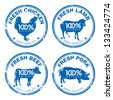 Set of fresh meat stamps, vector illustration - stock vector