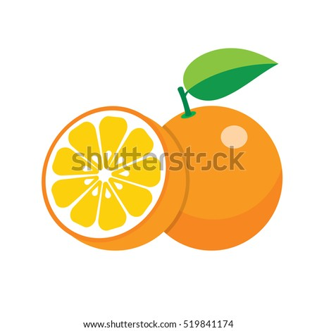 set of fresh ripe half oranges with leaves.