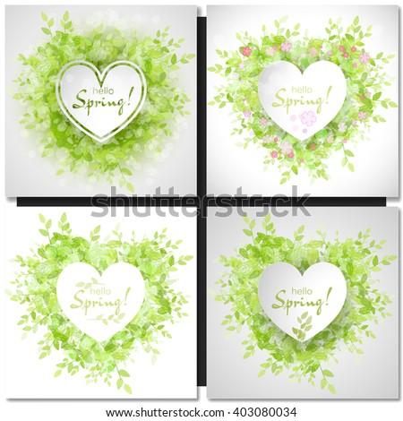 Set of Fresh spring green grass leaves frame template with white heart frame. Hello Spring design vector illustration. Trendy Design Template. - stock vector