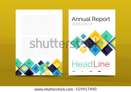 Set Front Back A Size Pages Stock Vector - Annual report design templates 2016