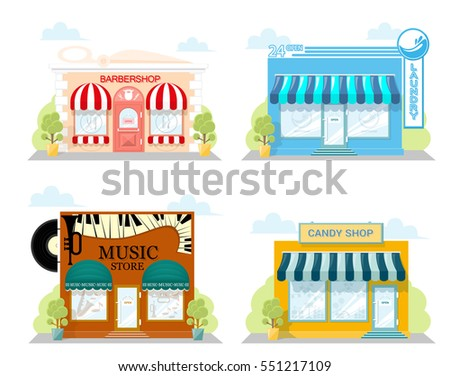 Set Of Front Facade Buildings Music Store Cafe Laundry And Candy Shop With