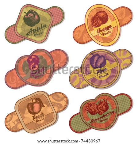 set of fruit and berries labels