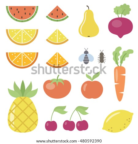 Set of fruit and vegetable icons. Vector