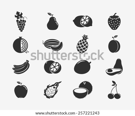 Set of fruit black silhouettes icons. Apple and banana, cherry and citrus, fruit and food, grape and lemon. Vector illustration