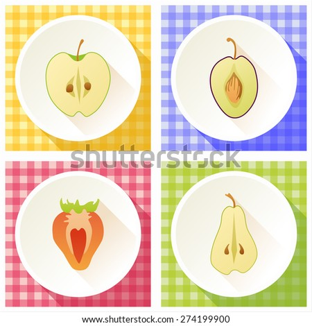 Set of fruit cross section: pear, strawberry, apple, plum  - stock vector
