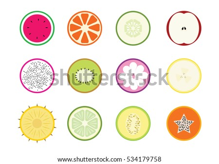 Set of fruit halves. watermelon, oranges, cucumber, apple, dragon fruit, kiwi fruit, mangosteen, banana, pineapple, lemon,  cantaloupe, papaya. Vector icons.